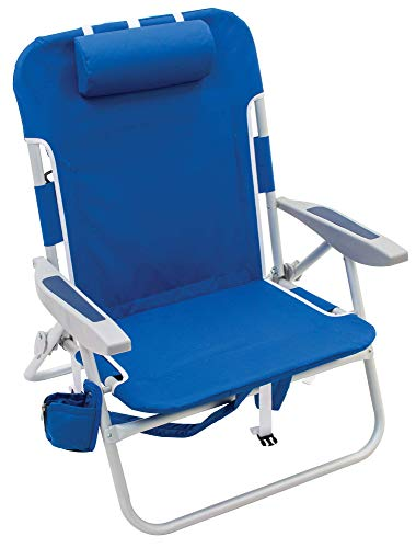 "Rio Brands Beach Big Boy 4-Position 13"" High Seat Backpack Beach or Camping Folding Chair"