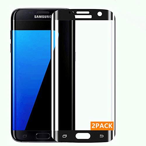 Haikingmoon Verre Trempé Galaxy S7 Edge,[2 Pièce] [3D Couverture Maximale] [Attaché sans Bulle] Film Protection [Haute Sensibilité] Protecteur écran pour Samsung Galaxy S7 Edge [Noir]