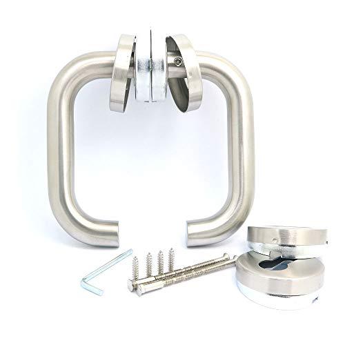 NUZAMAS - Par de manillas para puerta de acero inoxidable 304 con acabado cepillado, estilo minimalista moderno para baño, cocina, armario y sala de estar, inox