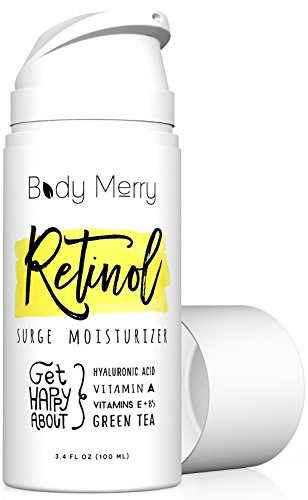 Body Merry Retinol Cream & Moisturizer for Face, Body & Eyes w Hyaluronic Acid for Anti Aging, Wrinkles & Acne; Use Day or Night! 3.4 oz