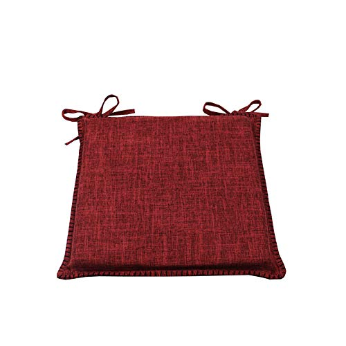 CnA Stores Set of 4 Beautiful Reversible Kitchen Dining Garden Chair Cushion Seat Pads With Ties Zipped Removable Covers (Red/Wine)