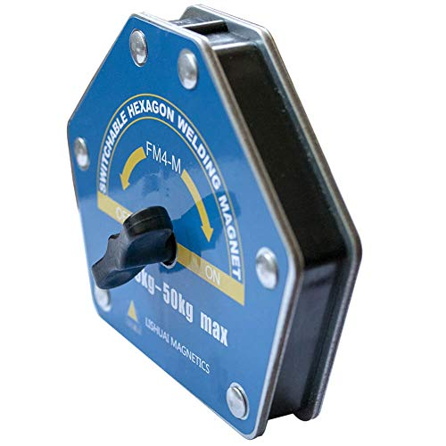 On/Off-Switchable Strong-Hand Welding Magnetic Clamps - Max 110lbs Heavy Duty Neodymium Welding Magnets Holder, Hexagon Multi-Angle Tools: 30°, 45°, 60°, 75°, 90°, 105°, 120°, 135°, 150°(Large)