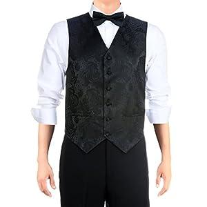 Retreez Men's Paisley Textured Woven Vest with Tie, Bow Tie 3 Pieces Gift Set