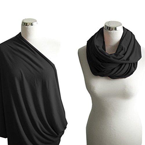 Stillschal & Stilltuch – Stilvoller Mehrzweck-Schal – dehnbare Bezüge für Babyschale, Autositz, Kinderwagen, Himmel und Einkaufswagen (90 x 80 cm), schwarz)