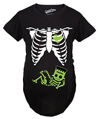 Crazy Dog Tshirts - Maternity Frankenstein Baby Bump Fall Film Movie Cute Halloween Pregnancy Tshirt (Black) - S - Femme