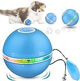 DazSpirit Juguetes para Gatos Interactivos Pelotas De Juguete para Gatos, Bola De Gato Eléctrica Interactivo Pelotas para Gatos con Luz Led, 360 Grados Automática Giratoria, Carga USB, Blanco