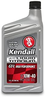 Kendall 527-7132 GT-1 High Performance SAE 10W-40 Motor Oil with Liquid Titanium - 1 Quart