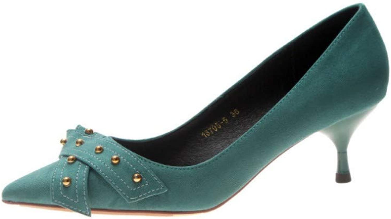 High Heel Stiletto Spitze Flachen Mund Damenschuhe Mode Grün
