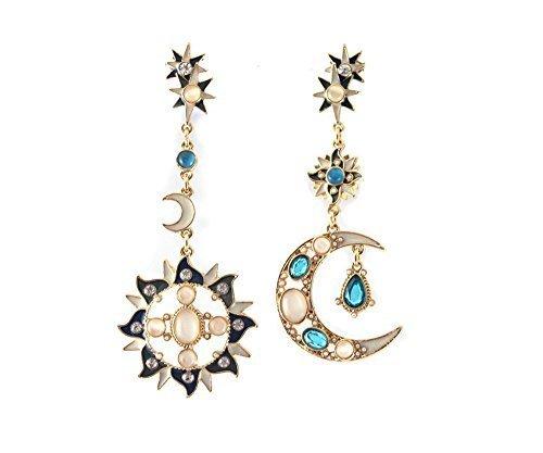 crazy jewelry Pendientes largos con piedra natural de ojo de gato y sol, Dios Luna
