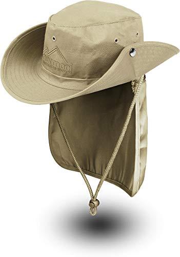 normani Buschhut Outdoor Schlapphut Outback mit abnehmbarem Nackenschutz Farbe Sand Größe XXL/63