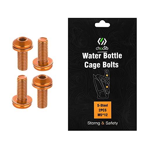 CNC - Tornillos para botella de bicicleta, M5 x 12 mm, para MTB, color naranja