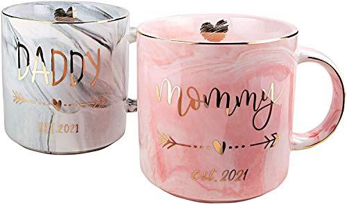 Marmor-Keramik-Tasse, Gold und Rosa, Keramik-Tassen, Porzellan, Kaffee, Suppe, heiße Kakao, erste Schwangerschafts-Geschenke – Mama und Papa est 2021 Tassen für werdende Eltern