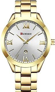 Curren 9007 Quartz Movement Round Dial Stainless Steel Strap Waterproof Women Watch - Gold, White