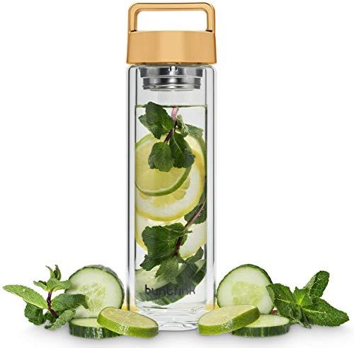 Buntfink 2goBottle Teeflasche aus Glas mit Sieb,Teebereiter to go, Trinkflasche mit Teesieb für Tee oder Wasser, Thermoflasche/Teekanne (doppelwandig) - Gold (kupfern)