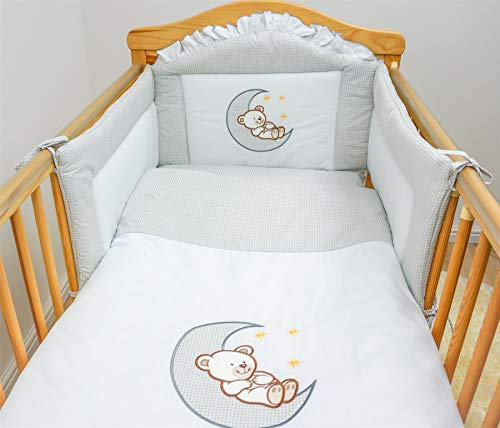 6 Piece Embroidered Baby Bedding Sets to fit Cot & Cotbed - (Cot 120 x 60cm, Hearts Grey)