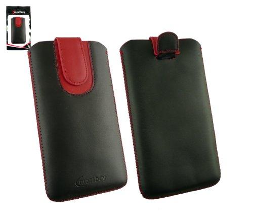 Emartbuy® Schwarz / Rot Premium PU LederTasche Hülle Schutzhülle Case Cover ( Größe 5XL ) Mit Ausziehhilfe Geeignet für Doogee HomTom HT6 Smartphone