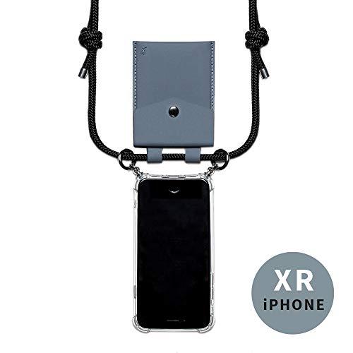 phonecover lover für iPhone XR - Handy-Kette für Smartphones mit Tasche als Kartenetui für Kleingeld - Stabile Handyhülle zum Umhängen für Dein iPhone - Smartphone Necklace (graue Tasche)