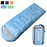 Envelope Sleeping Bag - 4 Seasons Warm Cold Weather Lightweight, Portable, Waterproof Compression Sack Adults & Kids - Indoor & Outdoor Activities: Traveling, Camping, Backpacking, Hiking, Sky Blue
