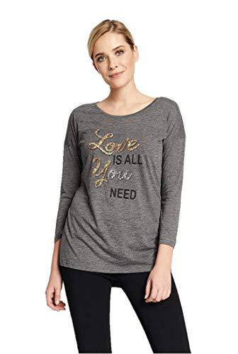 Hailys AM-ULP-160691A Damen Pailletten-T-Shirt Top Sweater SS P TP Need Gr. Small, dunkelgrau