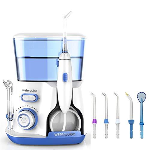 YLOVOW Waterpulse V300 Dental Flosser Pro Water Flosser 800Ml Higiene Bucal Agua Dental Irrigación Bucal para Dientes, Cuidado con 5 Puntas Eléctricas, 10 Configuraciones De Presión,Blue