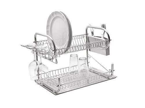 Escurridor de platos acero inoxidable de 2 pisos con charola, 59 X 33 X 35 cm | SK-1002 - BAUM BROTHERS