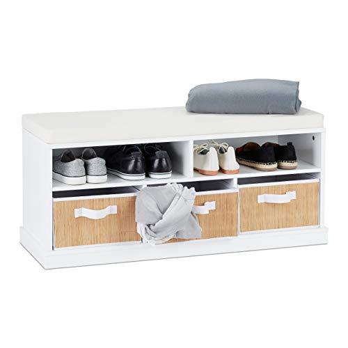 Relaxdays schoenenbank met zitkussen, gevoerde bank met opbergruimte, 2 open vakken, 3 manden, h x b x d: 43 x 95 x 34,5 cm, wit