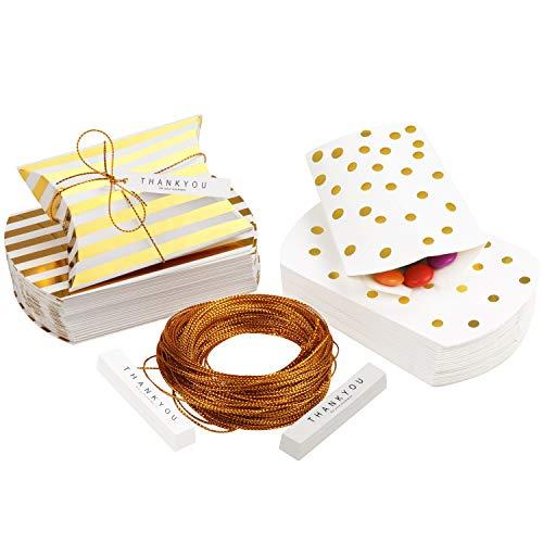 Belle Vous Cajitas para Regalo Papel Dorado y Blanco Cajas Almohada con Etiquetas y Cordel (Pack de 50) Cajas Kraft Estilo Vintage Lunares y Rayas para Bodas, Cumpleaños, Navidad, Baby Shower