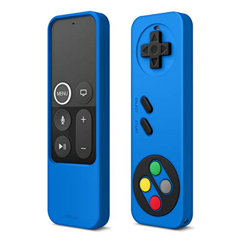 elago R4 Retro Apple TV Remote Case Compatible with Apple TV Siri Remote 4K 5th / 4th Generation - Classic Controller Design [Non-Functional], Lanyard Included [US Patent Registered] (Blue)