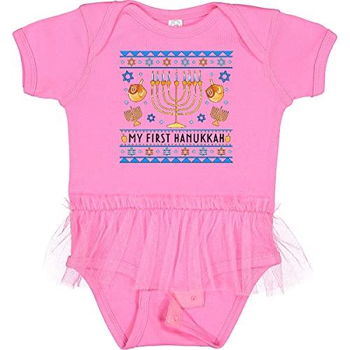 inktastic My 1st Hanukkah Sweater Infant Tutu Bodysuit 12 Months Raspberry 3d425