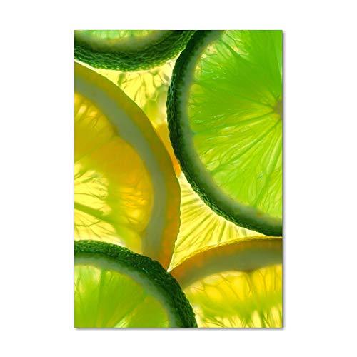 Tulup Impresión en Vidrio - 70x100cm - Cuadro sobre Vidrio - Pinturas en Vidrio - Cuadro en Vidrio - Impresiones sobre Vidrio - Cuadro de Cristal - Comidas Y Bebidas - Verde - Lima Y Limón