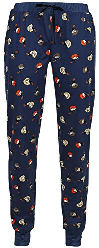 HARRY POTTER Chibi Allover Mujer Pantalón de Pijama Azul Oscuro L, 100% algodón, Rippbündchen, Schnürung