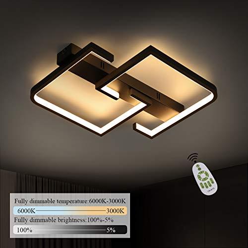 CBJKTX Lámpara de techo LED para salón, color negro, regulable, con mando a distancia, 35 W, de aluminio, diseño moderno cuadrado, para dormitorio, comedor, oficina, pasillo, iluminación interior