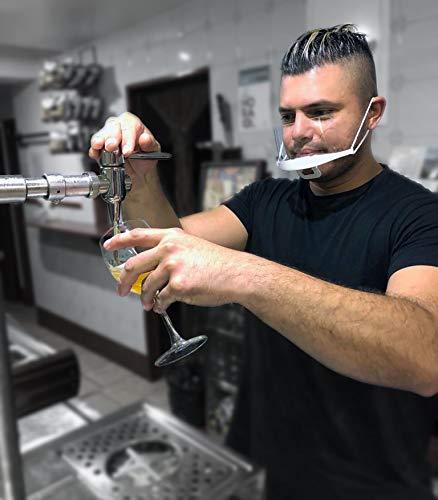 Protector bucal transparente PREMIUM - PACK 10 Unidades - Especial para hostelería, dentistas, peluqueros, clínicas, etc. Ligera, lavable y tapa boca y nariz. - HOMOLOGADAS