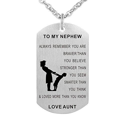 Aunt to My Niece Nephew Dog Tag Gift Jewelry Pendant Necklace Keychain