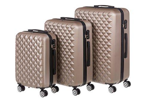 Hartschale Kofferset MONACO 3-teilig Gr. M+L+XL, 56+65+75cm, 42+68+110 Liter mit 360° Rollen und Zahlenschloss verschiedene Farben (iced coffee)