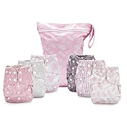 cheap Simple reusable cloth diapers – double gusset, 6 pockets, adjustable size, waterproof …