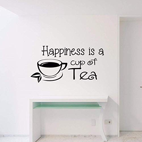 Zitat Wand Decsal Glück Ist Eine Tasse Tee Vinyl Wandaufkleber Interieur Abnehmbare Fenster Dekor Sprichwort Tea Shop Art Mrual 28X57Cm