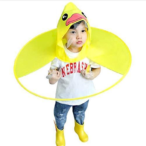 De poncho De schattige gele eendenregenjas kinderen transparante opvouwbare creatieve poncho de regenhoes geel L