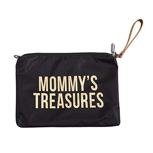 Childhome Praktische Tasche Umhängetasche mit Langen und kurzem Ledergurt 33 x 23 cm passend zu Mommy Bag in Schwarz-Gold