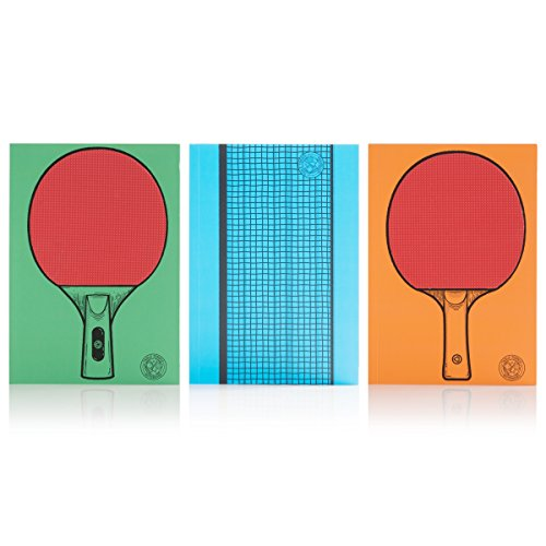 SUCK UK Tischtennis Notebooks. Set - 2 Schläger und 1 Netz