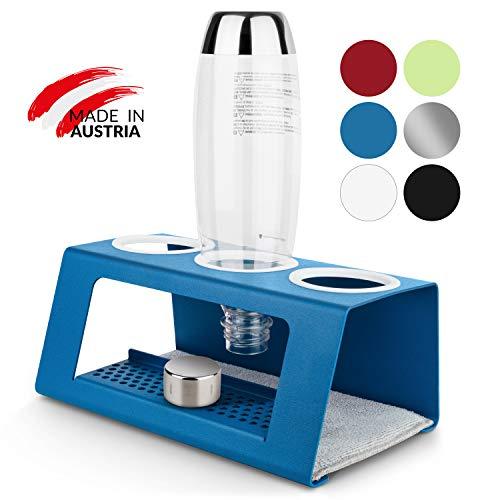 kamloopz® exklusiver Sodastream Flaschenhalter mit einzigartigem Abtropfgitter in coolen Farben - Abtropfhalter Soda Stream für Glasflaschen UVM. - Abtropfständer inkl. hochwertiger Abtropfmatte