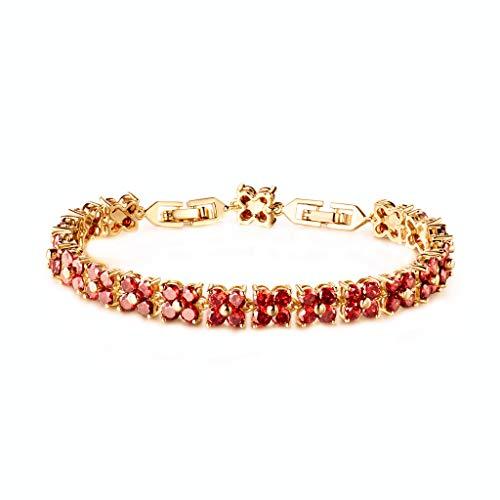 GULICX - Braccialetto tennis con cristalli, con semplici elementi quadrati in stile romano, placcato in oro con zirconi, da donna e placcato Oro, colore: Ruby, cod. GL321b-1
