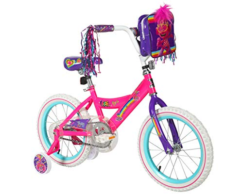 "Dynacraft 16"" Trolls Bike with Training Wheels and Trolls Hair Bag"