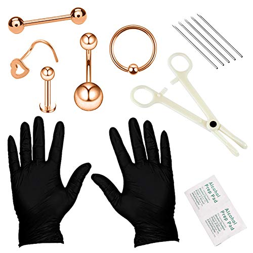 YOFANST Body Piercing Kit Ear Eyebrow Nose Tongue Lip Nipple Belly Button Piercing Jewelry 14G 16G Included Needles Gloves Tools Set B