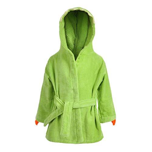 CoolChange kuscheliger Dino Kinderbademantel, Frottee, Grün, Größe: M