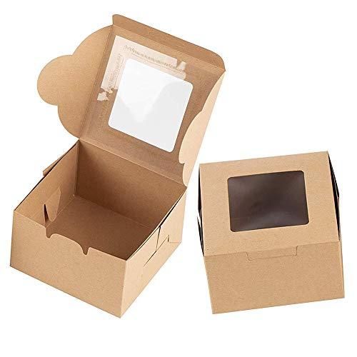 25 Piezas Caja Pasteleria Marrón Kraft, Mini Cajas de Pasteles, Caja...