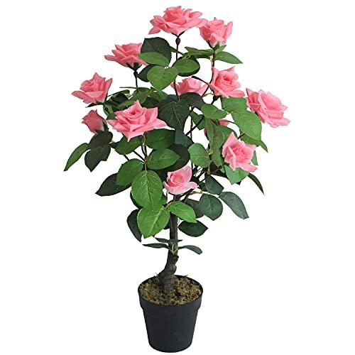 Decovego Rose Rosenstock Rosenbusch Rosenstamm Künstliche Pflanze Kunstpflanze mit Blüten Rosa Pink 70 cm