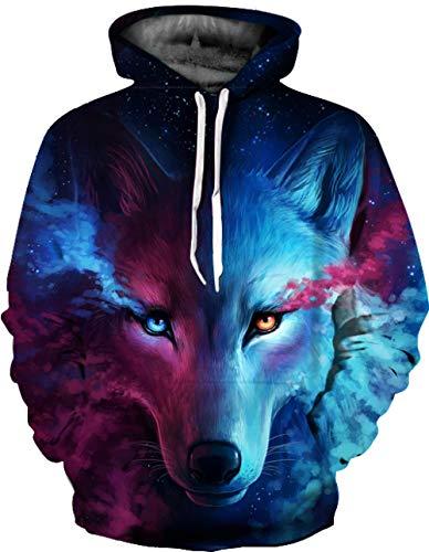 HGSWYUD Unisex 3D Impresin Grfico Hoodie Hombre Muje, Lobo Nebulosa Casual Manga Larga Pullover Sweatshirt Capucha con Bolsillos