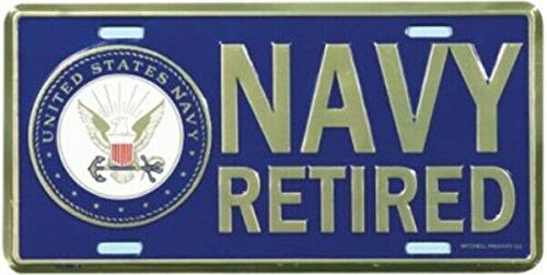 Navy Retired w/ Insignia License Plate