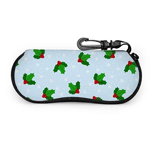 Flor navideña Estuche lindo para gafas Estuche protector para gafas Estuche ligero portátil con cremallera de neopreno para gafas de sol Mujeres